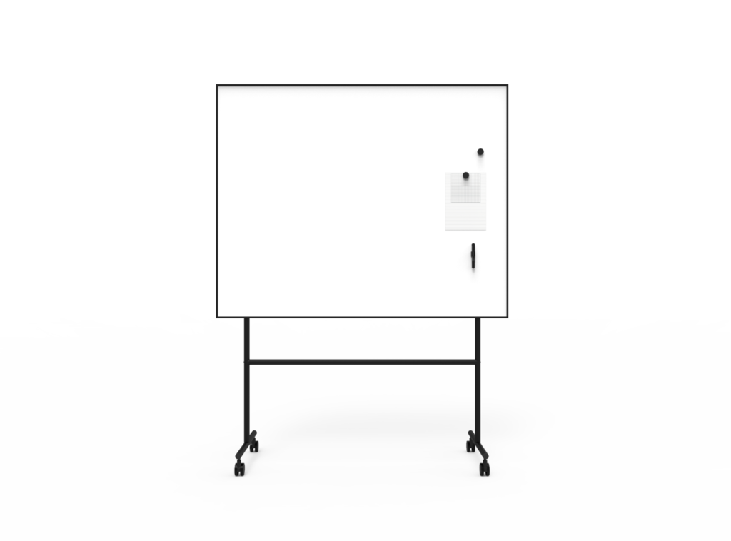 One mobile whiteboard Svart 1507 x 1960 x 500 (1507 x 1207)
